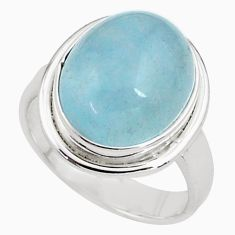 8.70cts natural blue aquamarine 925 silver solitaire ring jewelry size 8 p77815