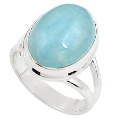 8.76cts natural blue aquamarine 925 silver solitaire ring jewelry size 7 p78307
