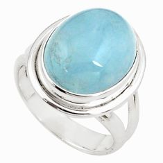 8.93cts natural blue aquamarine 925 silver solitaire ring jewelry size 7 p78314