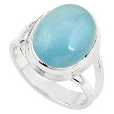 7.66cts natural blue aquamarine 925 silver solitaire ring jewelry size 7 p78331
