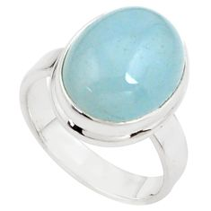 8.70cts natural blue aquamarine 925 silver solitaire ring jewelry size 8 p78340