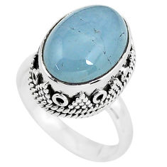 6.96cts natural blue aquamarine 925 silver solitaire ring size 6.5 p56581