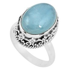 7.10cts natural blue aquamarine 925 silver solitaire ring size 6.5 p56589