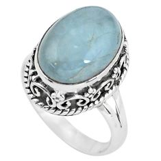6.32cts natural blue aquamarine 925 silver solitaire ring size 6.5 p56591