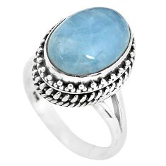 7.10cts natural blue aquamarine 925 silver solitaire ring size 7.5 p56592