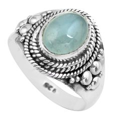 3.35cts natural blue aquamarine 925 silver solitaire ring size 7.5 p71645