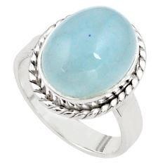 9.44cts natural blue aquamarine 925 silver solitaire ring size 8.5 p77790