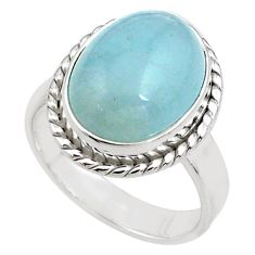 8.70cts natural blue aquamarine 925 silver solitaire ring size 8.5 p77814