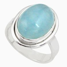 8.70cts natural blue aquamarine 925 silver solitaire ring size 7.5 p77816