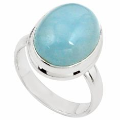 8.14cts natural blue aquamarine 925 silver solitaire ring size 7.5 p78303