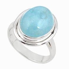 7.07cts natural blue aquamarine 925 silver solitaire ring size 7.5 p78306