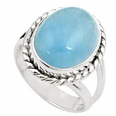 8.42cts natural blue aquamarine 925 silver solitaire ring size 6.5 p78309