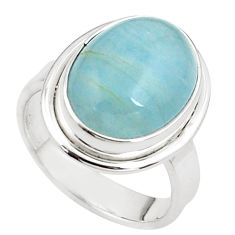 10.04cts natural blue aquamarine 925 silver solitaire ring size 7.5 p78310