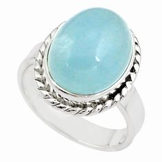 8.96cts natural blue aquamarine 925 silver solitaire ring size 7.5 p78321