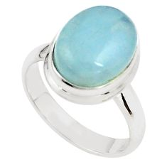 7.22cts natural blue aquamarine 925 silver solitaire ring size 8.5 p78323