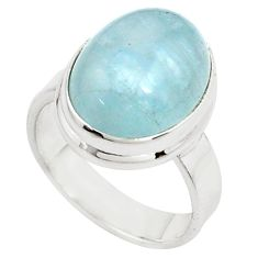 8.41cts natural blue aquamarine 925 silver solitaire ring size 6.5 p78336