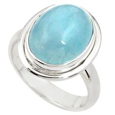 7.22cts natural blue aquamarine 925 silver solitaire ring size 7.5 p78343