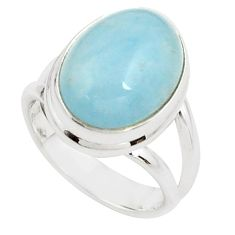8.14cts natural blue aquamarine 925 silver solitaire ring size 6.5 p78347