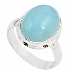8.41cts natural blue aquamarine 925 silver solitaire ring size 8.5 p78351