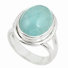8.14cts natural blue aquamarine 925 silver solitaire ring size 6.5 p78352