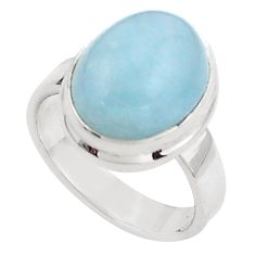 5.75cts natural blue aquamarine 925 silver solitaire ring size 6.5 p88435