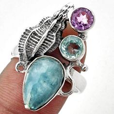 NATURAL BLUE AQUAMARINE AMETHYST 925 SILVER CONCH SEASHELL RING SIZE 8 G85613