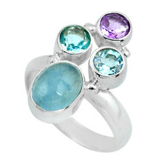 5.79cts natural blue aquamarine amethyst 925 sterling silver ring size 7 d32267