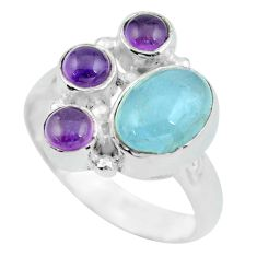 Clearance Sale- 5.74cts natural blue aquamarine amethyst 925 sterling silver ring size 7 d32272