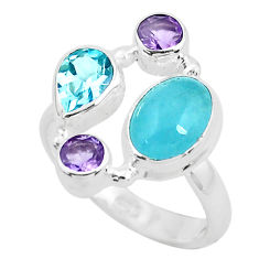 6.84cts natural blue aquamarine amethyst 925 sterling silver ring size 7 p52451