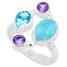 6.54cts natural blue aquamarine amethyst 925 sterling silver ring size 7 p52452