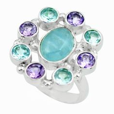Clearance Sale- 12.34cts natural blue aquamarine amethyst topaz 925 silver ring size 6.5 d32262