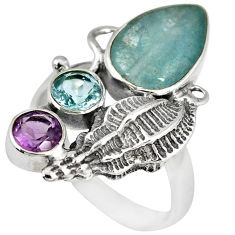 NATURAL BLUE AQUAMARINE AMETHYST TOPAZ 925 SILVER SEA SHELL RING SIZE 9 A2696