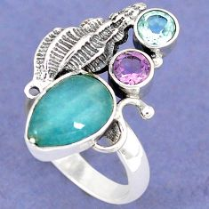 NATURAL BLUE AQUAMARINE AMETHYST TOPAZ 925 SILVER SEA SHELL RING SIZE 7.5 H8273
