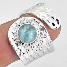 3.24cts natural blue aquamarine round 925 silver adjustable ring size 8.5 p57247