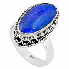 6.57cts natural blue australian opal triplet silver solitaire ring size 7 p72161