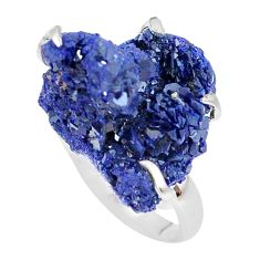 30.97cts natural blue azurite druzy 925 silver solitaire ring size 8 p63402