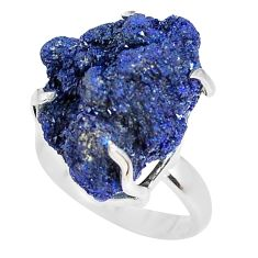 26.52cts natural blue azurite druzy 925 silver solitaire ring size 8 p63409