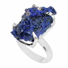 24.56cts natural blue azurite druzy 925 silver solitaire ring size 8 p63412