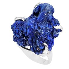 37.79cts natural blue azurite druzy 925 silver solitaire ring size 7 p63415