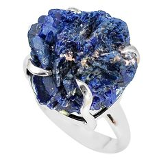 28.62cts natural blue azurite druzy 925 silver solitaire ring size 7 p63419