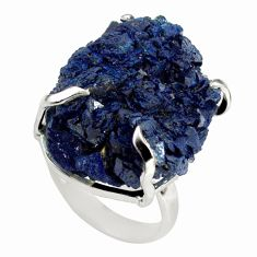 36.46cts natural blue azurite druzy 925 silver solitaire ring size 6 p79379