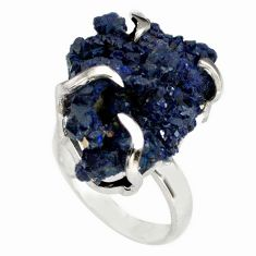 26.52cts natural blue azurite druzy fancy silver solitaire ring size 7 p79380