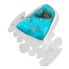 5.54cts natural blue campitos turquoise 925 silver solitaire ring size 8 p80334