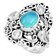 5.01cts natural blue chalcedony topaz 925 sterling silver ring size 6 p55954