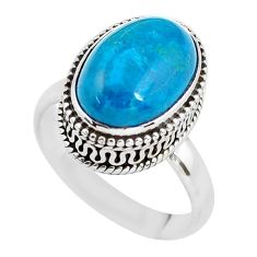 6.96cts natural blue chrysocolla 925 silver solitaire ring jewelry size 8 p56608