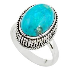6.70cts natural blue chrysocolla 925 silver solitaire ring jewelry size 8 p56616
