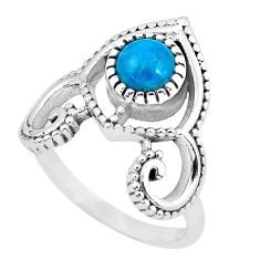 1.28cts natural blue chrysocolla 925 silver solitaire ring jewelry size 7 p57786