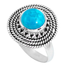 3.19cts natural blue chrysocolla 925 silver solitaire ring jewelry size 7 p63217