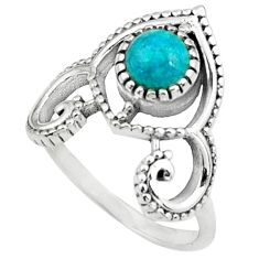 0.85cts natural blue chrysocolla 925 silver solitaire ring jewelry size 8 p79156
