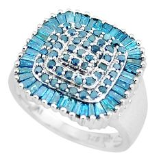 4.82cts natural blue diamond 925 sterling silver ring jewelry size 6.5 c3713